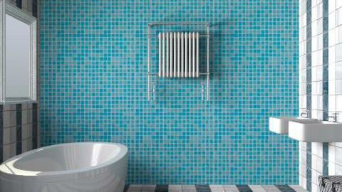 Cool colours with an accent of blue - Minimal - Bathroom  - by magicboy18