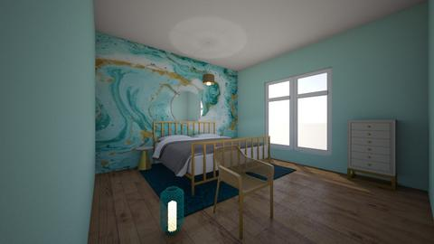 Turquoise metal bearoom - Bedroom - by tekoa06