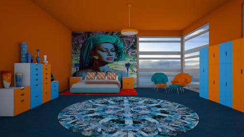 orange and blue - Retro - Bedroom  - by kitty