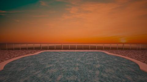 Pool Sunset - Garden  - by aestheticXdesigns