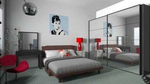 Retro Black Red Bedroom 1 - Retro - Bedroom  - by dyahayuyunita