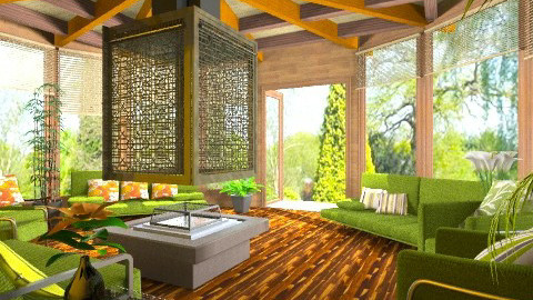 Auberge en nature - Rustic - Living room  - by Bibiche