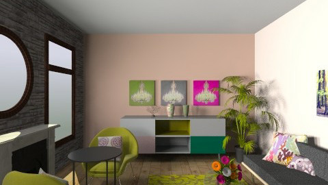 chartreuse coral room - Glamour - Living room  - by Jerusha lumley