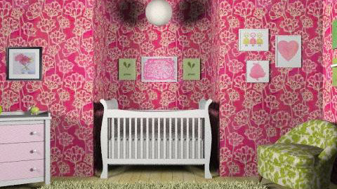 Pretty Pink and Green - Feminine - Kids room - by elliefant