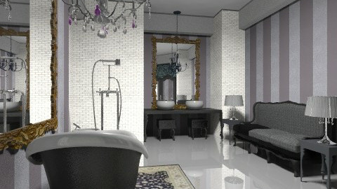 black chandelier view 02 - Bathroom - by decoart