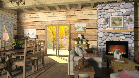 Cabin Living - Rustic - Living room  - by Baustin