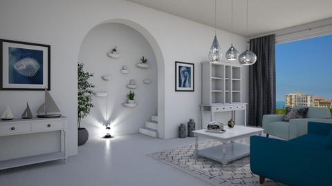 White and blue - Living room  - by Val Val