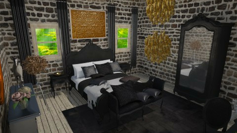 black and gold  - Glamour - Bedroom  - by nico3