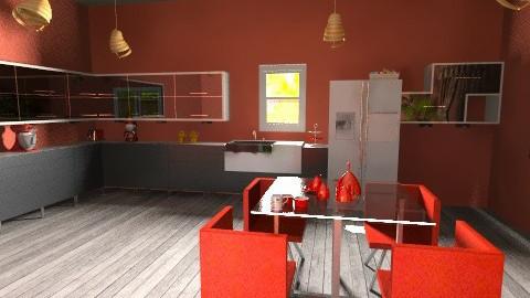 Red Kitchen Dining Room - Retro - Kitchen  - by jessicalove