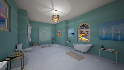 Teal and gold bathroom - Bathroom - by DreamDesigner14
