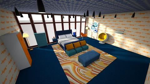 Orange and Blue disaster  - Bedroom  - by Ashley210
