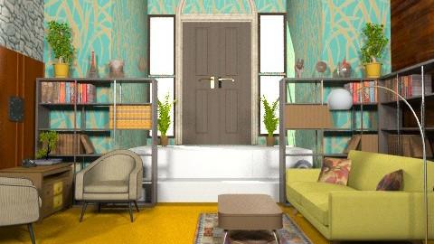 Orange green living room - Retro - Living room  - by ec2190