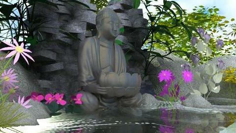 Water Buddha - Classic - Garden  - by Bibiche