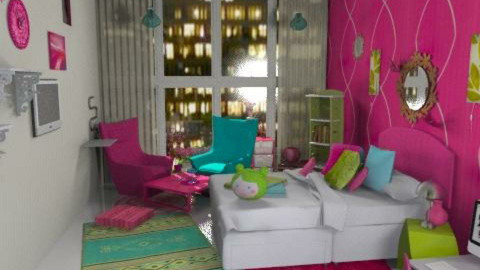 colorful - pink blue green - Eclectic - Bedroom  - by haSo0n