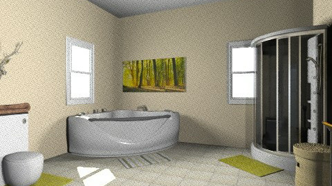 Tan and Green Bathroom - Rustic - Bathroom  - by jessicalove