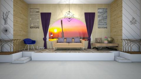 Purple window - Rustic - Living room  - by gefenkl