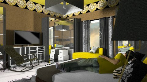 black yellow bedroom - Eclectic - Bedroom  - by chania
