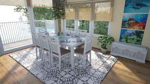 Seaside Dining - Country - Dining room  - by Theadora