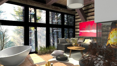 Cozy Log Cabin - Country - Living room - by deleted_1520806422_Roxy