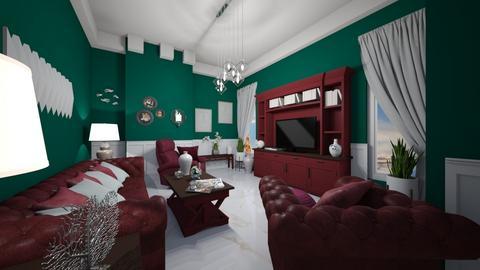 Burgundy n Hunter Green - Glamour - Living room  - by Irishrose58