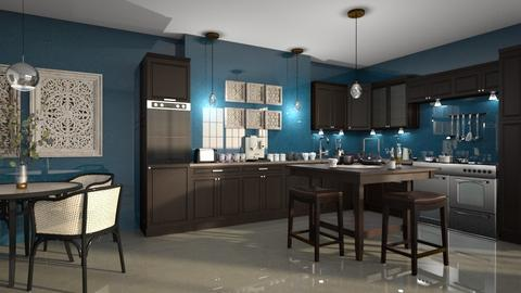Dark brown_Blue Kitchen - by ZsuzsannaCs