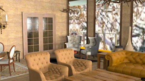 Logcabin3 - Rustic - Living room  - by camilla_saurus