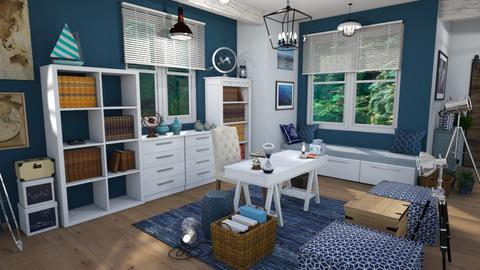 nautcial blue office - Modern - Office  - by Moonpearl