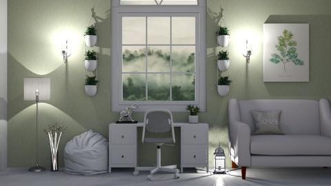 WhiteandGreenStudy - Office  - by LaylaaaarrrJF