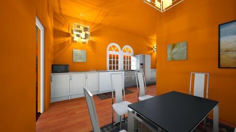 Flame colored kitchen - Country - Kitchen - by AURORA SCOTT ALLEN