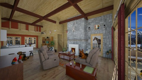 Cabin In The Woods - Country - Living room  - by Fuzzy Squirrel