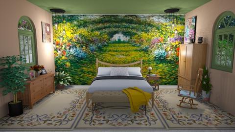 Monet Mural Bedroom - Bedroom  - by KarJef