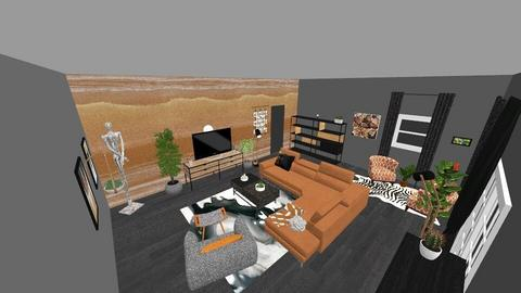 orange and grey - Living room - by zolaubbary