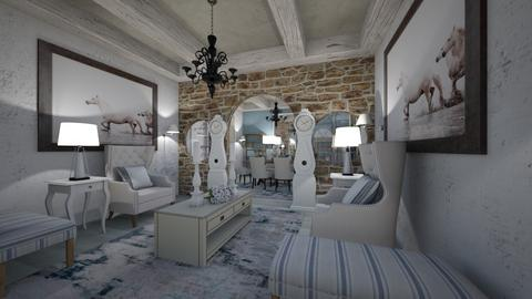 Living_Dinning_White_Blue_Wood_Stone_ - Eclectic - Living room - by Nikos Tsokos