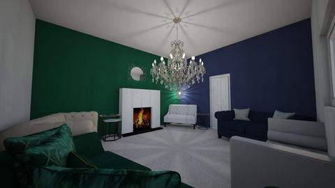 dark green and blue - Living room  - by ange06