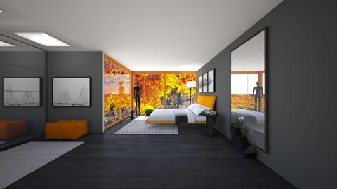 Orange and Black Bedroom - Bedroom  - by Tanem_Cagla