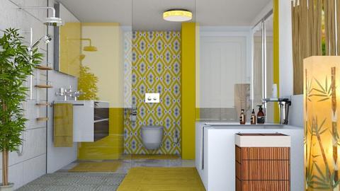 YELLOW BATH - Bathroom  - by KC Pechangco