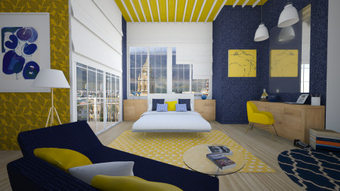 blue and yellow mood - Modern - Bedroom  - by Senia N