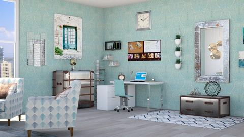 Calm Turquoise with Metal Accents A2 - Bedroom  - by chillycrush