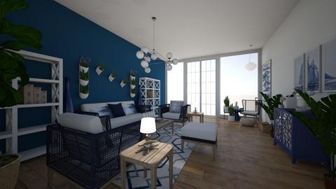 navy livingroom - Living room  - by PeculiarLeah
