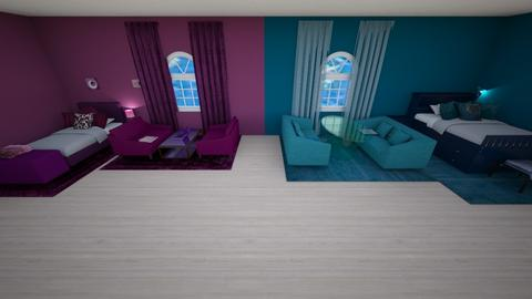 Maroon and Blue Room - Feminine - Bedroom  - by SierraJohnson2666