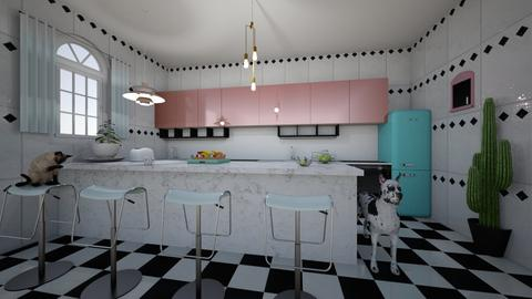 Checkered vintage kitchen - Retro - Kitchen  - by yaizalloriginal