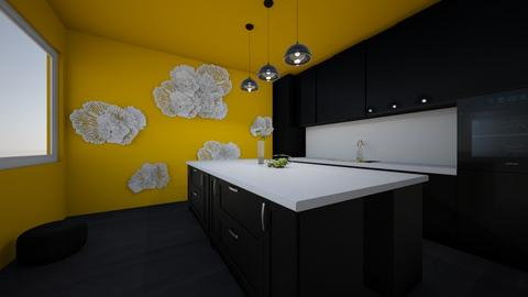 Yellow and black Kitchen - Kitchen  - by BubbleTeaLover