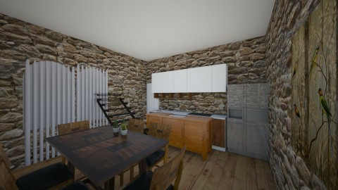 mix of modern w classic - Country - Kitchen  - by swimmercayden