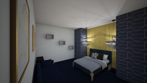 Navy and Gold decorated bedroom - Modern - Bedroom  - by MWB08