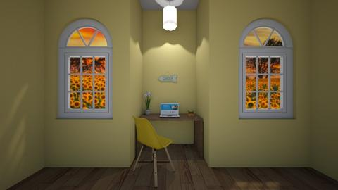Yellow room - Minimal - Office  - by waffledoghaha
