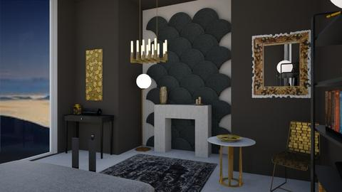 black and golden bedroom  - Glamour - Bedroom - by tiana24