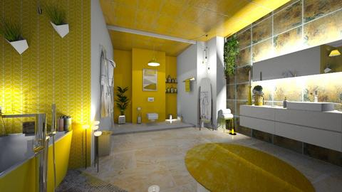 yellow washroom - Retro - Bathroom  - by Phoenix_shruti