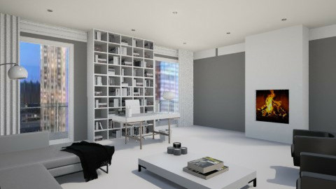 BW - Living room  - by fashionvoguelove