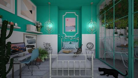 Turquoise and metal - Bedroom - by diegobbf