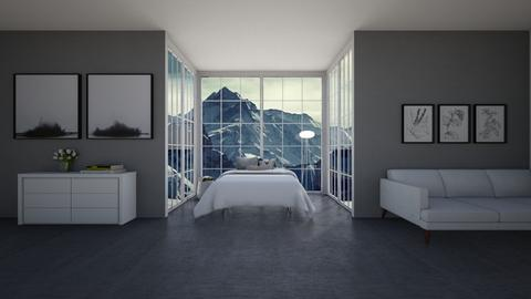 Grey and White Bedroom - Bedroom  - by Popcorn the Designer